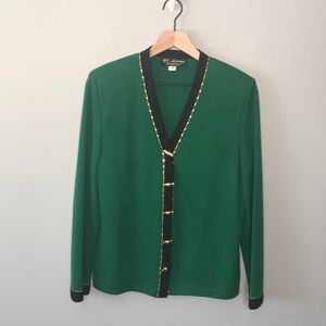 St. John Santana knit green skirt set size 8